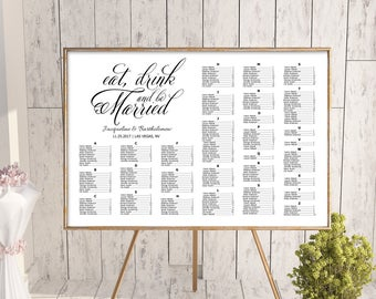 Wedding alphabetical seating chart template, printable seating chart, seating chart, editable seating plan, eat, drink and be married sign