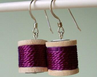 Earrings - Spools of Thread in Plum