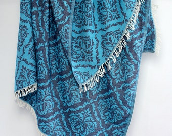 Blue Towel Throw, Indigo Beach Blanket, Damask Pattern Natural Bath Towel, Large Soft Cotton Towel, Renaissance Motifs Jacquard Beach Fouta