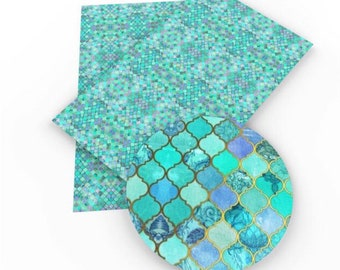tile turquoise Faux Leather ;turquoise Vinyl Fabric ;Headband Bow Leather Sheets ;Blue Vinyl ;Vegan Leather;Bow Making Supply