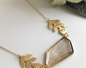 quartz necklace gold leaf necklace gemstone necklace mori girl jewelry bohemian necklace nature inspired jewelry minimalist GOLD RUSH