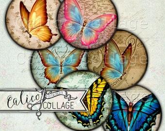 Spring Butterflies, Printable, Decoupage Paper, Bottlecap Images, Digital, Collage Sheet, Butterfly Ephemera, Scrapbooking, Instant Download