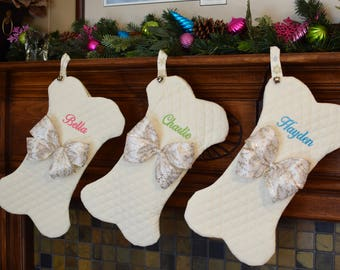 Non Traditional Pet Christmas Stockings || Personalized Dog Bone Fish with Jingle Bell || Holiday Stocking || Gift by Three Spoiled Dogs
