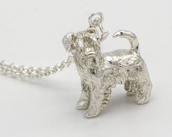 Schnauzer 3D Sterling Silver Necklace