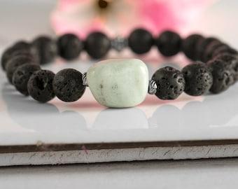 Lava Bracelet, Black Lava Stone Bracelet, Men Bead Bracelet, Black Bead Bracelet, Hippie Bracelet