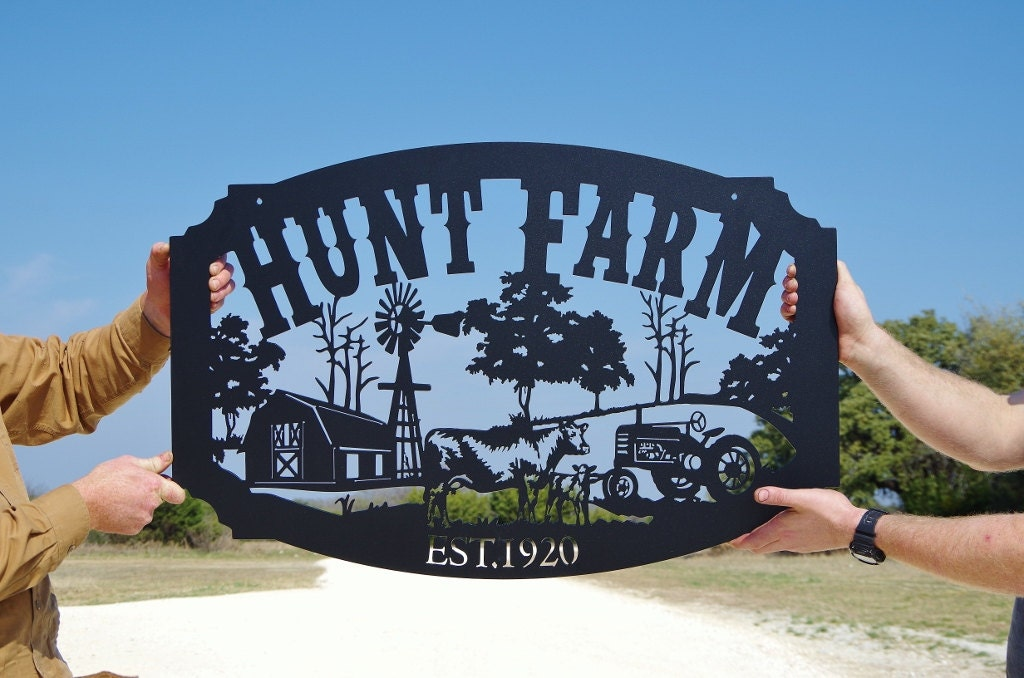 Family Name Custom Metal Farm Sign Personalized Farming Sign
