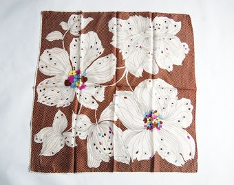 Vintage 1960s Brown, White, Yellow, Blue, Purple Polka Dot and Floral Square Scarf