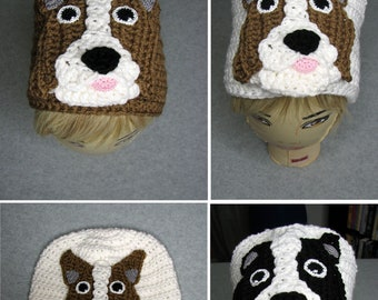 Border Collie - Hat Crochet Pattern - Border Collie Hat Pattern - With Tutorials - Intermediate Pattern - Animal Hat Pattern - Crochet Hat