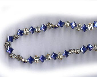 vintage rose montees TWENTY FIVE cobalt blue 5mm square shape or 7mm on diagonal diamond shape montees, sew ons, prong set faceted crystals