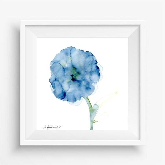 """Original watercolor flower painting: """"Blooming in Indigo"""""""