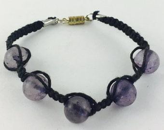 Black hemp Amethyst bracelet