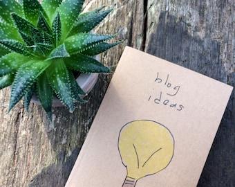 Kraft Blogger Notebook - 100% recycled  - Blog Notes - Blogging Journal - Blogging Planner - Blogger Ideas - Recycled Journal - Blog Ideas