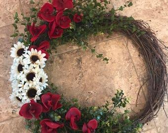 Spring Wreath, Summer Wreath, grapevine wreath, floral wreath