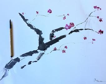 Cherry Blossom painting, Sumi-E Ink, cherry blossom watercolor,cherry blossom