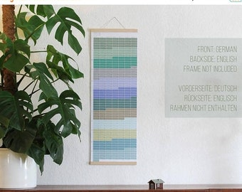 ON SALE Wallplanner 2018 Wall calendar 2018 Planner pastel aqua turquoise nature 2018 English-German printed on both sides