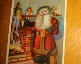 Antique Santa Claus Saint Nick Lithographed Print Card Old Santa Claus Graphic Antique Saint Nick