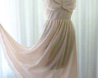 Gotham Gold Stripe Vintage 1950s Blush Pink Nightgown Unworn 36 Bust