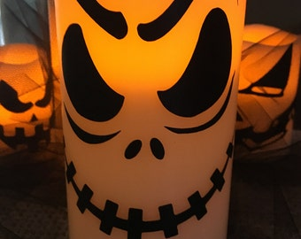 Halloween Flameless Candle-Fun Decorated Halloween Candle-Flameless Candle-Halloween Decoration-Halloween Party Decor-Fun Party Decoration