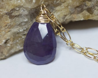 Amethyst and Gold. Wire Wrapped 14K Gold Filled Pendant.