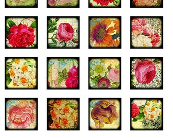Rose Squares - Ceramic Waterslide Decal - Enamel Decal - Fusible Decal - 488678S