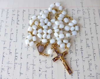 Vintage French White Glass Rosary, Enameled, Crucifix