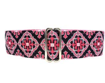 Pink Martingale Dog Collar, 1.5 Inch Martingale Collar, Hot Pink and Black Dog Collar, Pink and Black Martingale Collar, Greyhound Collar