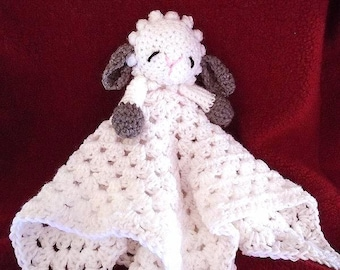 Crochet PATTERN, Little Baby Lamb Cuddle Blanket,  baby gift, shower gift, Lovey Blankie, Baby blanket, Snuggle Blanket, pattern # 763