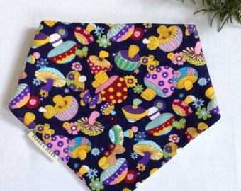 Baby toddler bandana dribble bib retro vintage floral mushroom print