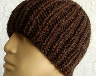 Wood brown beanie hat, ribbed hat, skull cap, mens womens knit hat, winter hat, brown hat, toque, chemo cap, brown hat, brown knitted hat