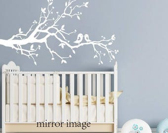 Large white tree branch - wall decal with leaves birds and hearts nursery wall art
