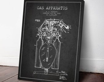 1928 Gas Apparatus Patent Canvas Print, Anesthetic Machine, Medical Patent, Wall Art, Home Decor, Gift Idea, ME84C