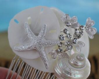 Elegant Seashell Bridal Comb/ Beach Theme Comb
