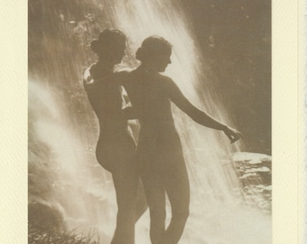 Erato: Vintage LGBTQ+ Card - lesbian valentine, antique skinny dipping photo, besties beach day card, lesbian girlfriends card