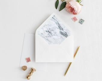 Marble Envelope Liner | White Marble | Printable Envelope Liner | Wedding Envelope Liner | A7 & A6 Envelope Liners | DIY Envelope Liners