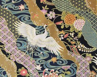 KIMONO COLLECTION - Black Crane Landscape Asian Japanese Fabric (BTY)