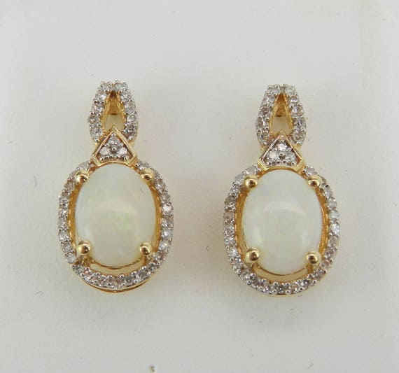 14K Yellow Gold Opal and Diamond Drop Earrings Wedding Gift October Birthstone