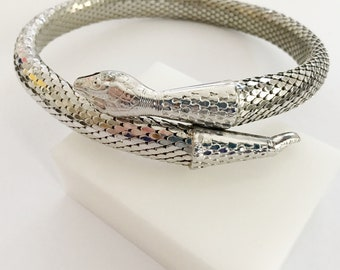 Whiting & Davis Wrap Snake Necklace, Vintage Jewelry, Silver Mesh Egyptian Revival Necklace, Cleopatra Jewelry, Vintage Gold Serpent Choker