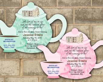Tea Party Baby Shower Invitations, Bridal Shower Tea Invitation, Luncheon, Invitation, Personalized Bridal Baby Invitations, Baby Tea Brunch