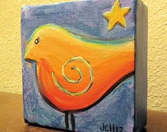 "Star Bird Original Acrylic Painting Mini Canvas 4"" x 4"""