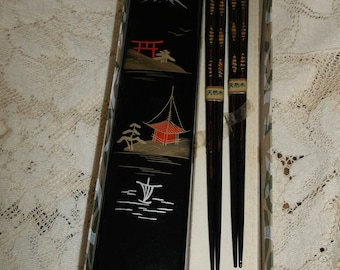 Lacquered Pair of Chopsticks in Lacquered Case Original Box