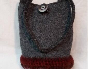 Gray felted handbag