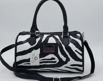 Black faux leather Zebra one purse