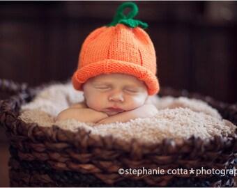Newborn and Baby Pumpkin Hat - Halloween Costume - Photo Prop