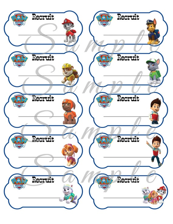 paw patrol name tags birthday party favor printable 2x4 inch