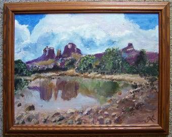 Oil Painting of Red Rock Crossing - Cathedral Rock - Sedona Arizona AZ - Oil Painting by Grand Rapids MI Artist Johanna Kromminga