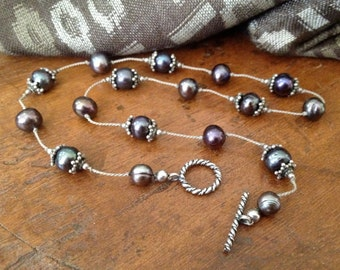 Sterling Silk Knotted Black Pearl Necklace