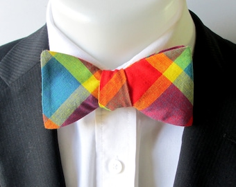 Mens bowtie  - bright  multi-colored plaid / tartan bowtie -