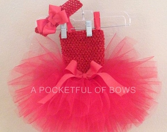 Hot Pink Tutu Dress, Toddler Pink Tutu, First 2nd 3rd 4th 5th Birthday Outfit