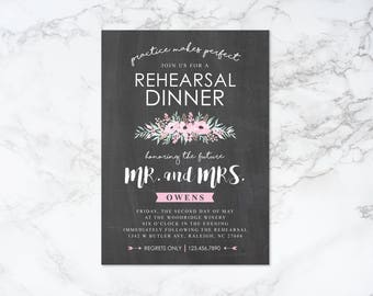 Printable Watercolor Floral and Chalkboard Practice Makes Perfect Theme Rehearsal Dinner Invitation