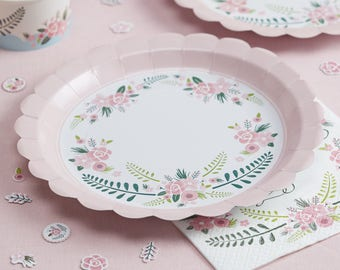 Pink Floral Paper Plates Wedding Plates Baby Shower Plates BBQ Party plates  sc 1 st  Etsy & Wedding paper plates | Etsy